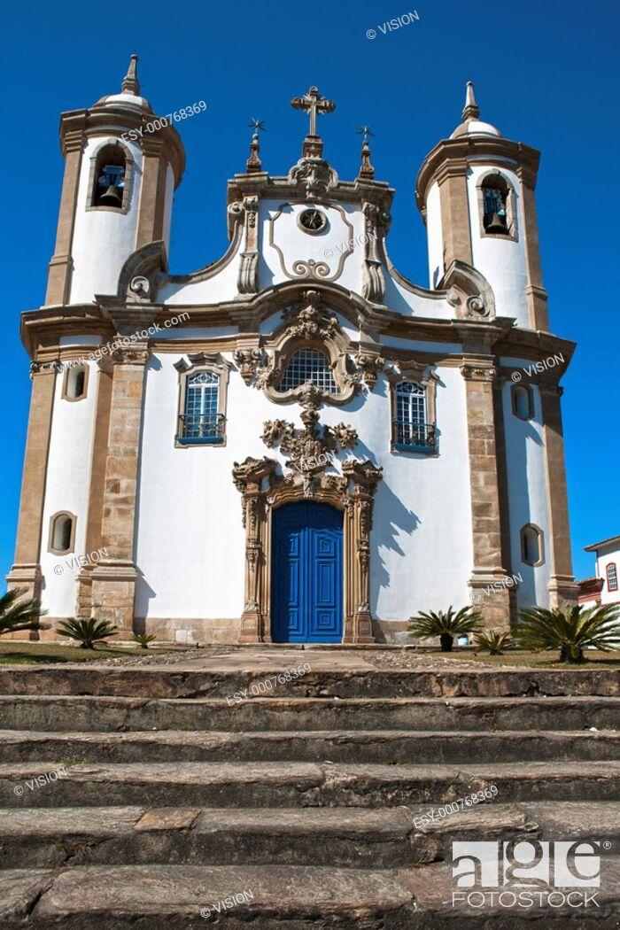 Stock Photo: view of a church of ouro preto in minas gerais brazil.