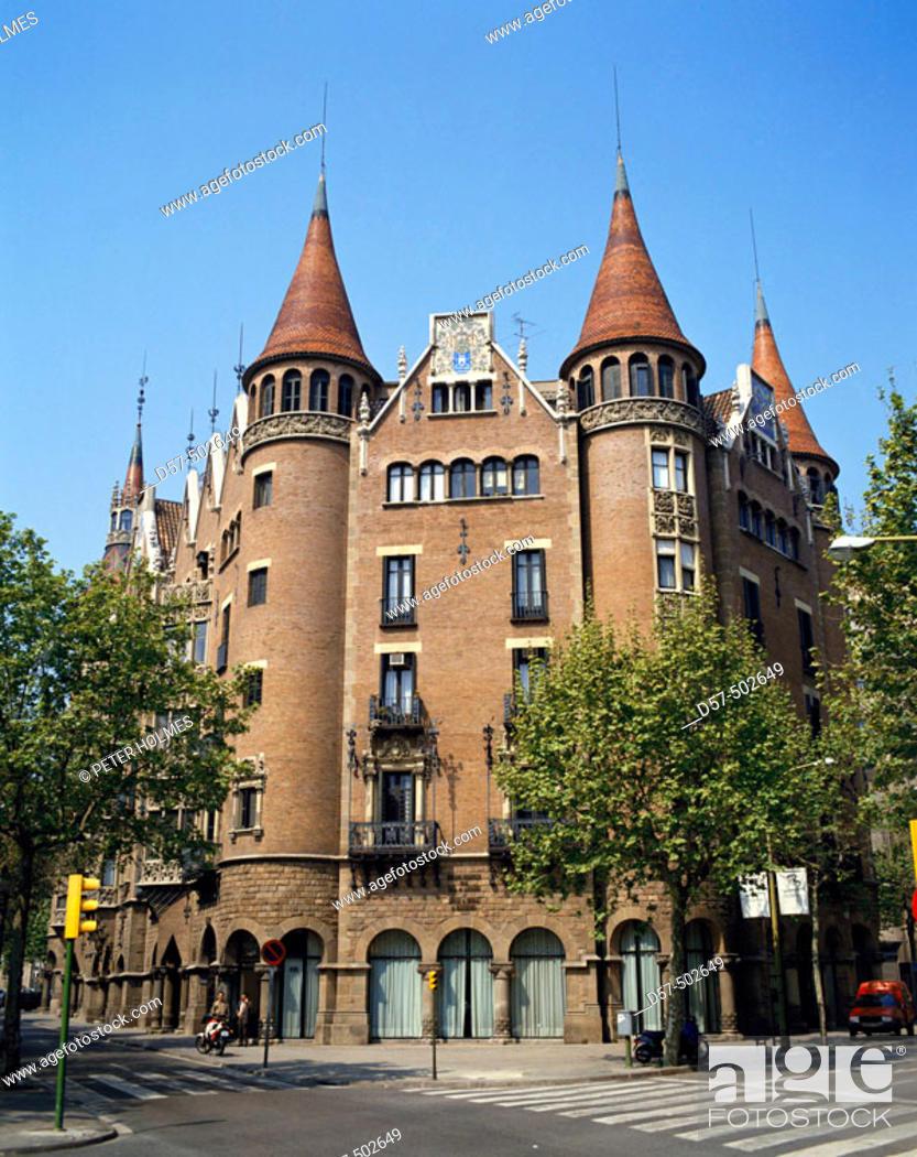 Stock Photo: Casa Terrades (aka Casa de les Punxes, 1903-05) by Josep Puig i Cadafalch, Barcelona. Catalonia, Spain.