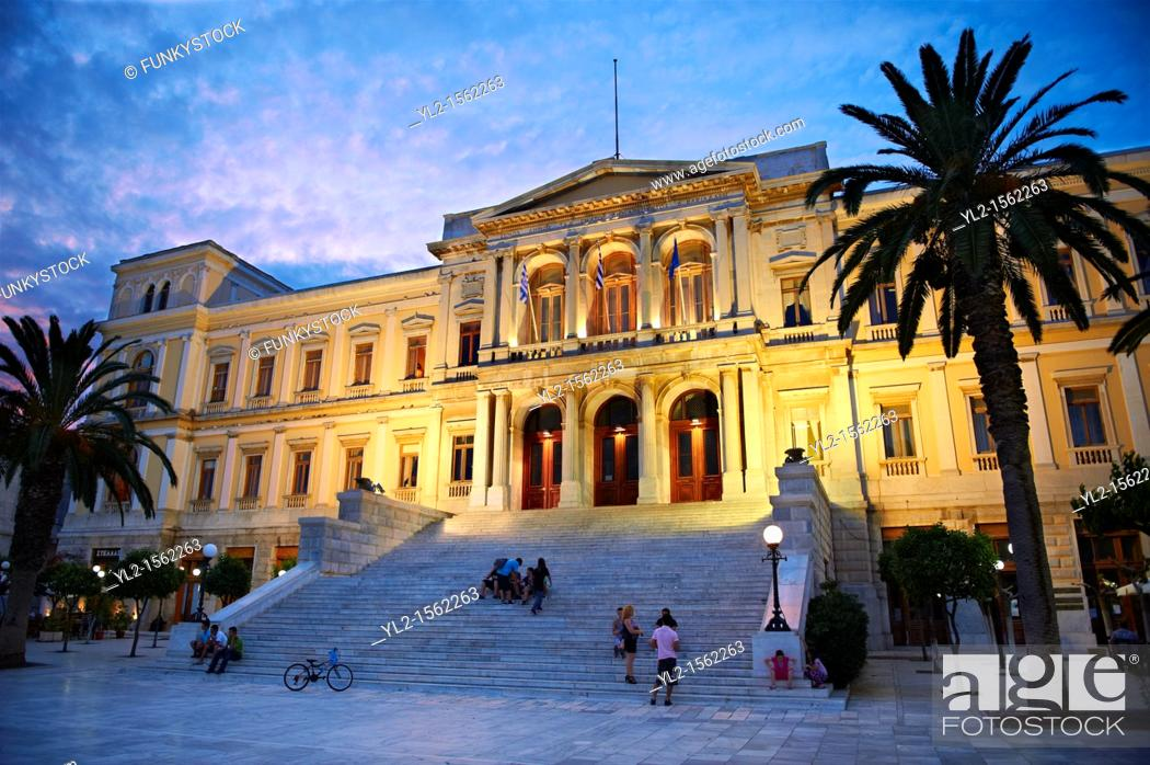 Stock Photo: The Neo Classic City Hall of Ermoupolis, Miaoulis Square, Syros  S  , Greek Cyclades Islands.