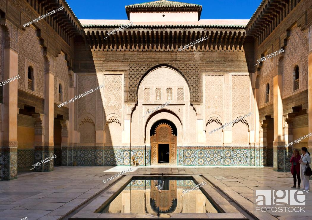 Stock Photo: Courtyard of the Ben Yousse Medersa Madrasa, Medina district, Marrakech, Morocco, North Africa.