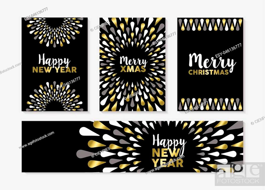 Stock Vector: Merry Christmas Happy New Year gold set of elegant designs for banner, greeting card, label, tags. EPS10 vector.