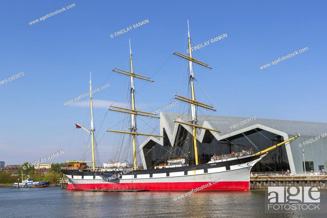 Stock Photo: Glenlee tall ship, built in 1896, a three masted barque, now berthed on the River Clyde at the Riverside transport museum, Glasgow, Scotland, Uk.