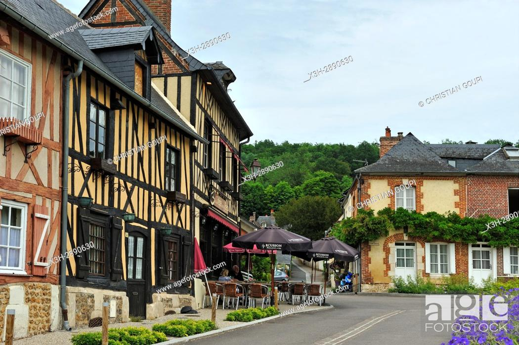 Stock Photo: half-timbered house along the Abbe Herluin Square at Bec-Hellouin, labelled Les Plus Beaux Villages de France, Eure department, Normandie region, France, Europe.