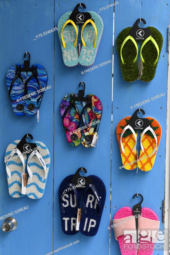 Stock Photo: Colourful flipflops, sandals, Ishigaki island, Okinawa Prefecture, Japan, Asia.