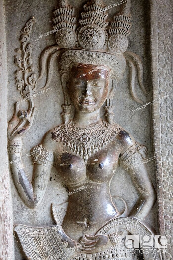 Stock Photo: Bar relief at Angkor Wat temple, Siem Reap, Cambodia.