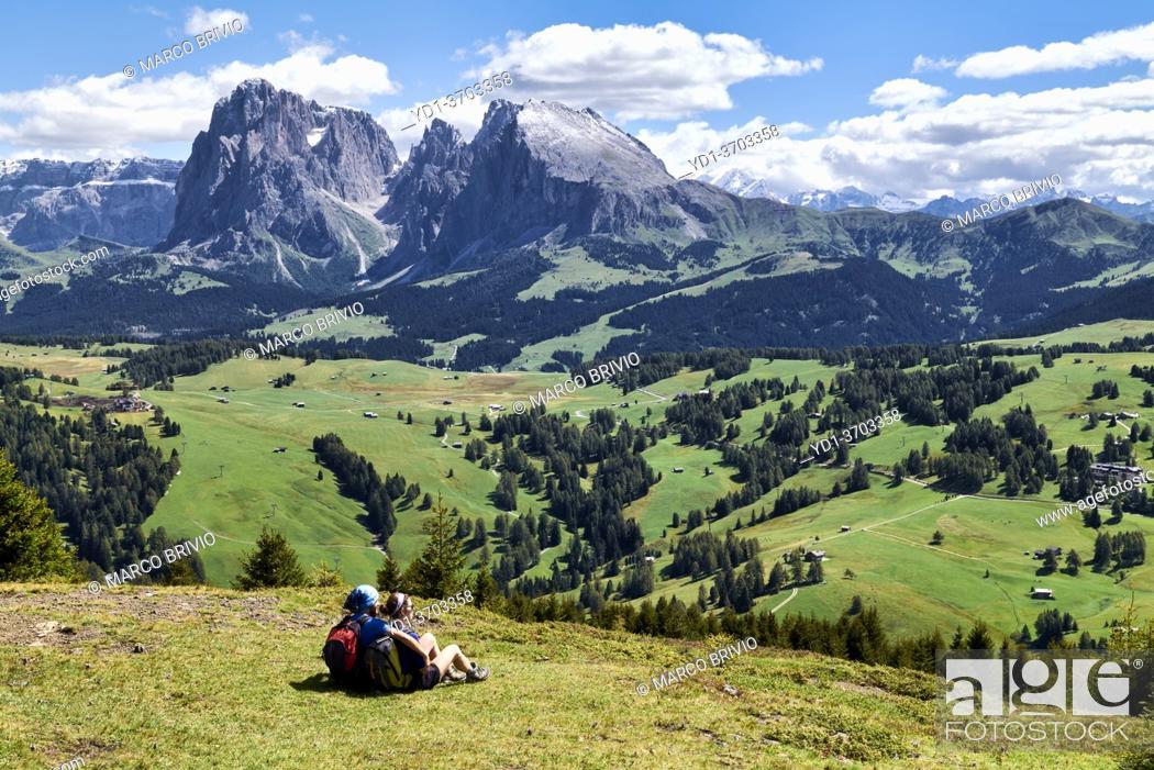 Stock Photo: Seiser Alm (Alpe di Siusi). Valgardena Italy. Panorama view with the Sassolungo mountain peak.
