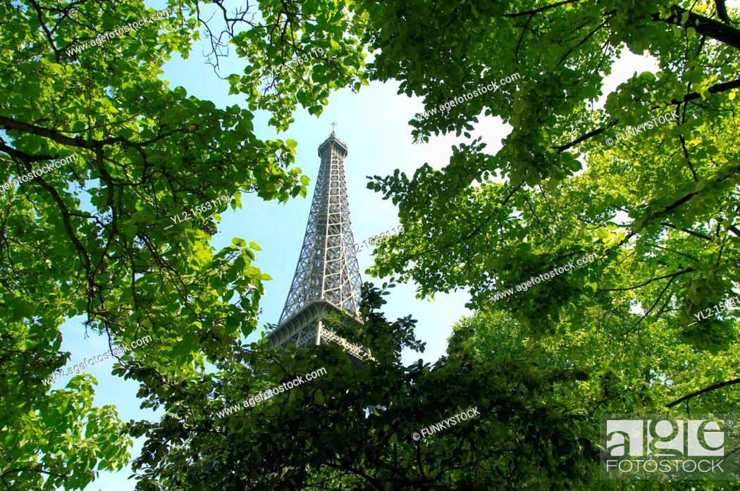 Stock Photo: Paris - France -Eifel Tower - Through trees.