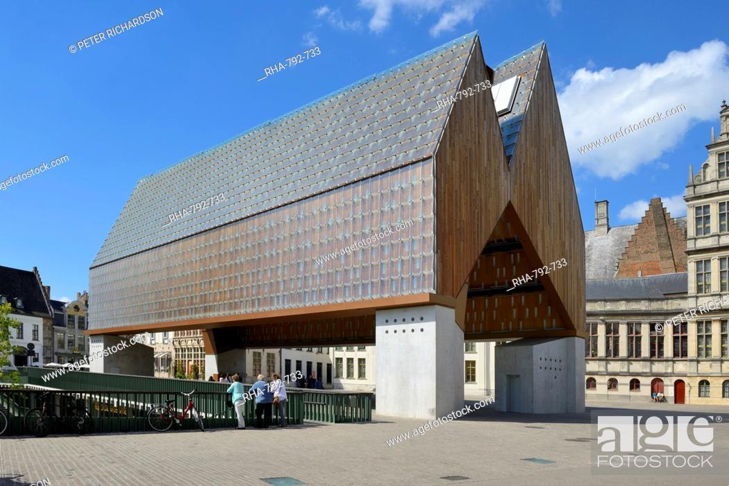 Stock Photo: Stadshal (Market Hall), Poeljemarkt, Ghent, Flanders, Belgium, Europe.