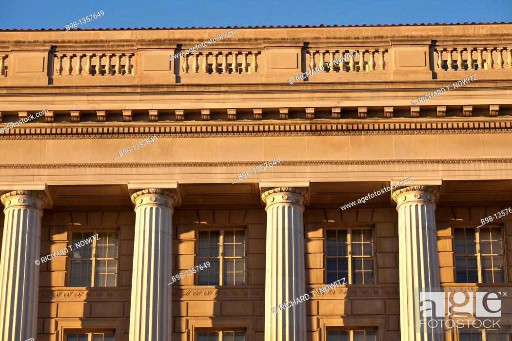 Stock Photo: Late afternoon light on the neo classical facade of the EPA building.