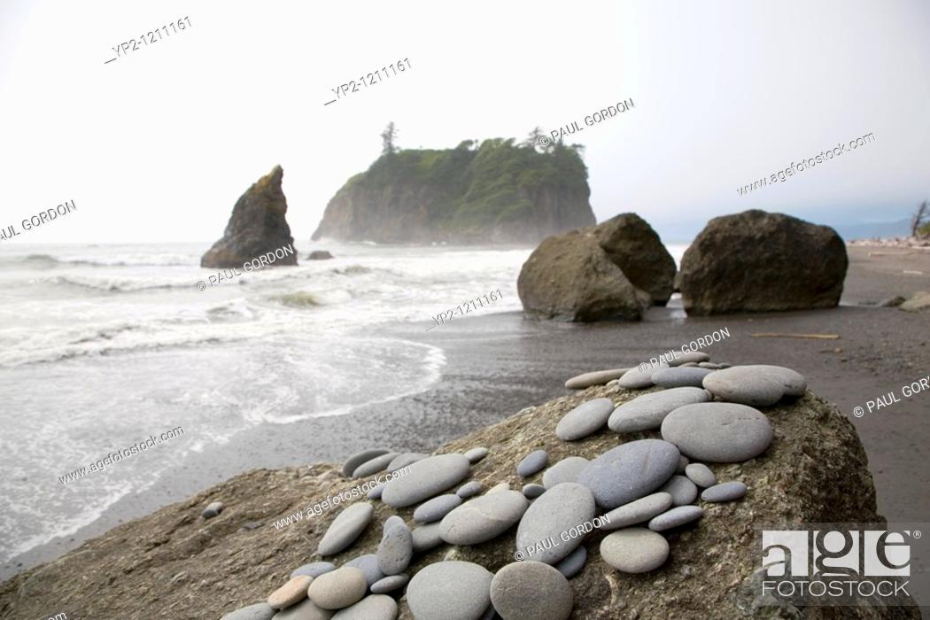 Stock Photo: Collection of Stones on a Rock at Ruby Beach, Olympic National Park on the Olympic Penninsula.