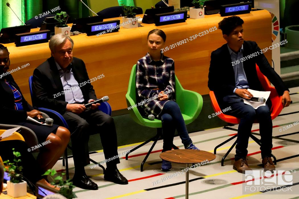 Stock Photo: September 21, 2019, New York, New York, United States of America: Swedish activist Greta Thunberg during the Climate Summit at UN headquarters in New York on.