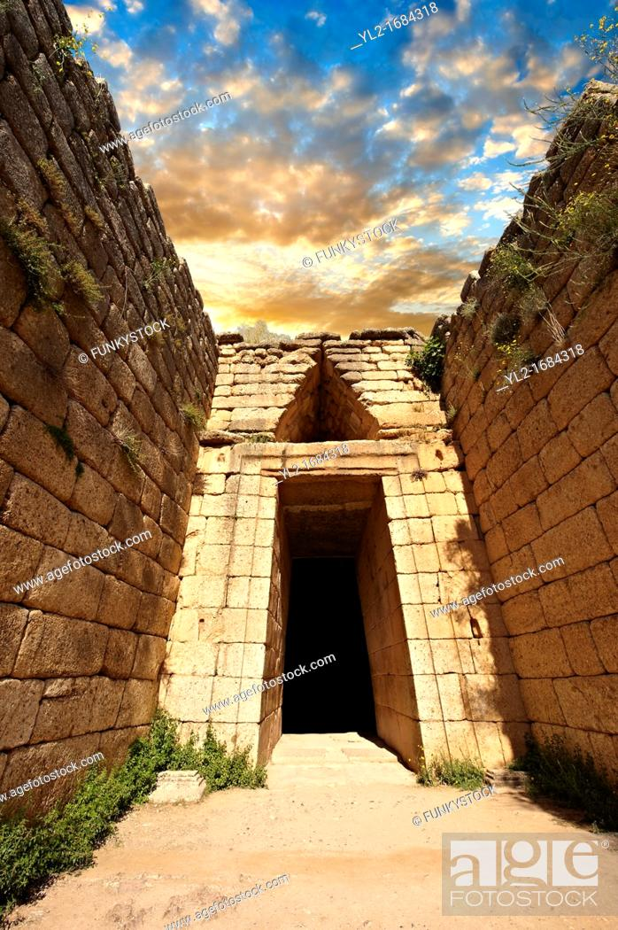 Stock Photo: Entrance to the Treasury of Atreus is an impressive 'tholos' beehive shaped tomb on the Panagitsa Hill at Mycenae  The entrance has the typical square 2 upright.