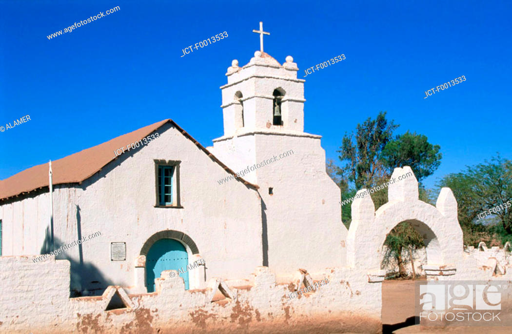 Stock Photo: Chile, San Pedro de Atacama, San Pedro church.