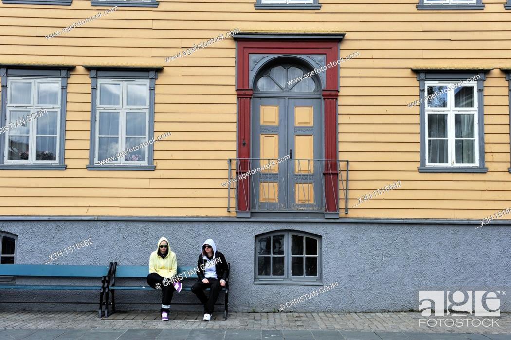 Stock Photo: housefront, Tromso, County of Troms, Norway, Northern Europe.