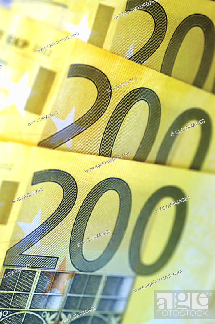 Stock Photo: Close-up of two hundred Euro banknotes.