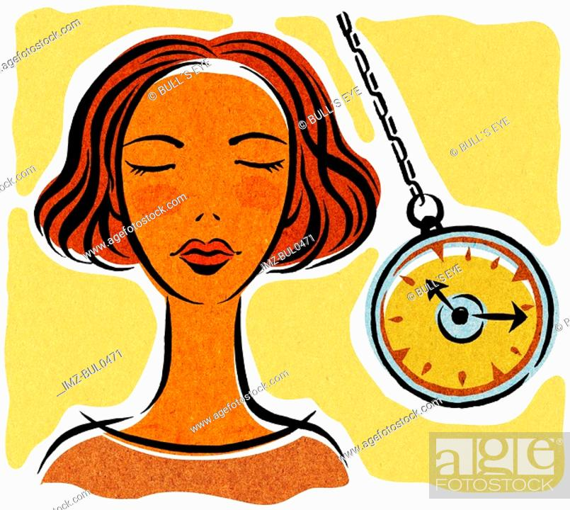 Stock Photo: A woman being hypnotized with a pocket watch.