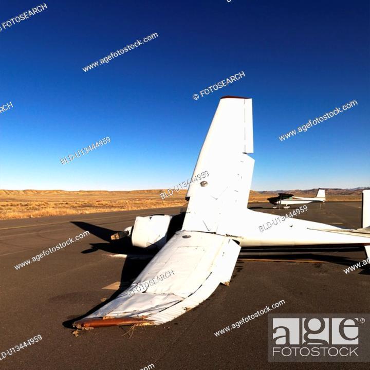 Stock Photo: Crashed plane on tarmac at Canyonlands Field Airport, Utah, United States.