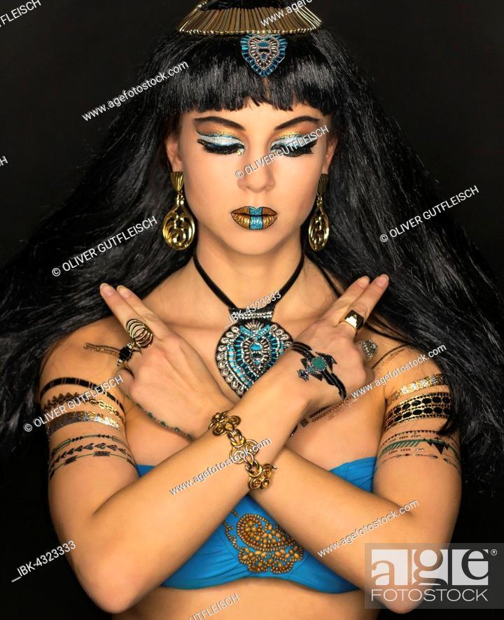 Stock Photo: Young Woman as Cleopatra, Fashion, Art, Portrait.