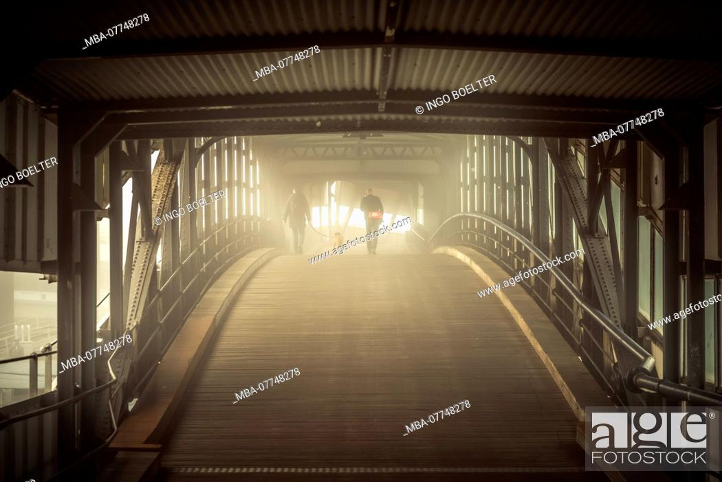 Stock Photo: Germany, Hamburg, the Elbe, harbour, St. Pauli, landing stages, bridge, oversea bridge.