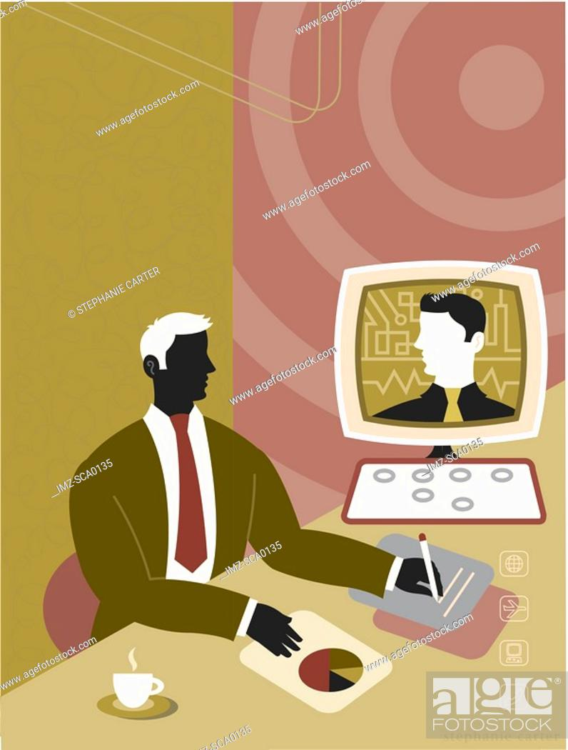 Stock Photo: online meeting.
