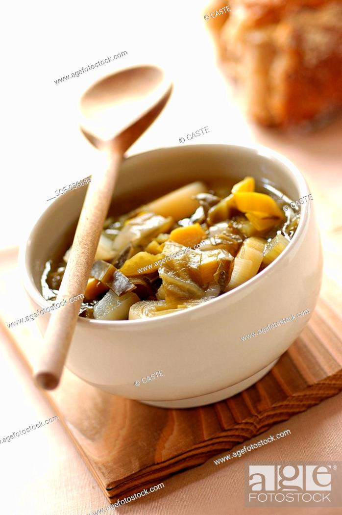Stock Photo: cabbage, leek and chickpea soup.
