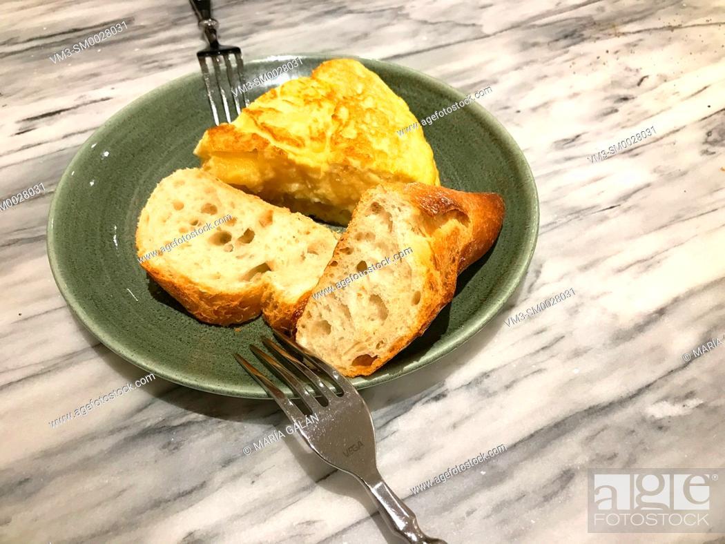 Stock Photo: Spanish omelet serving. Spain.