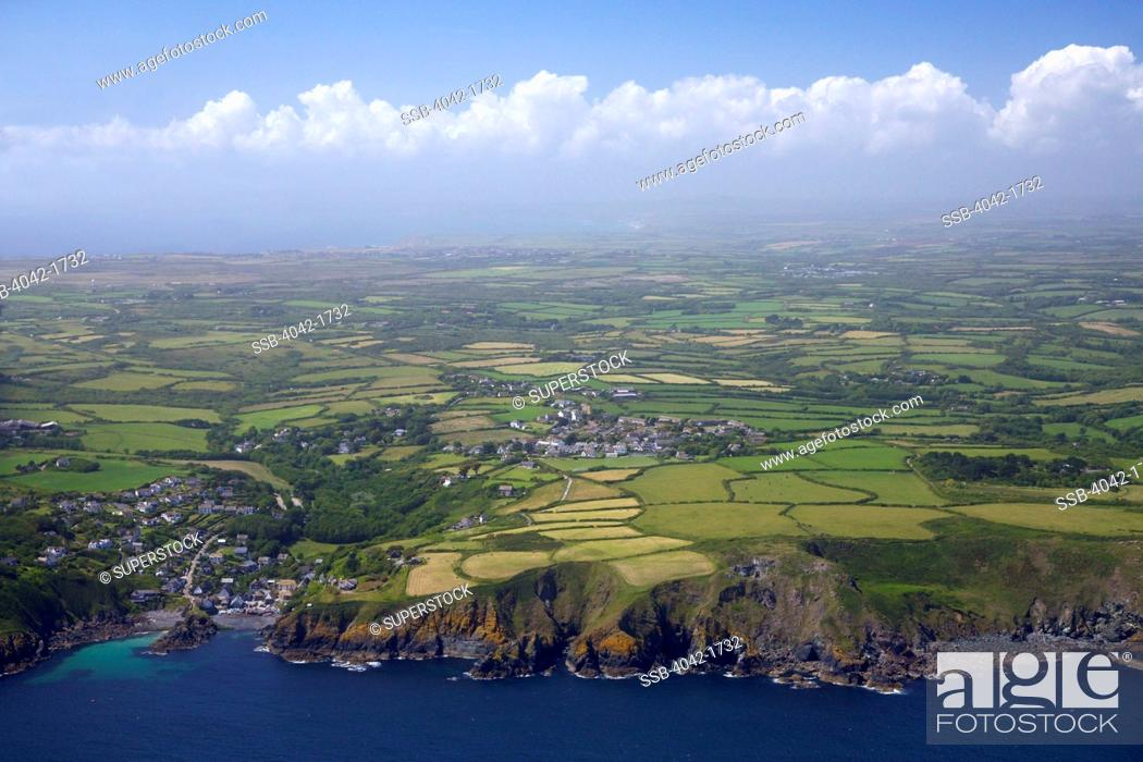 Stock Photo: United Kingdom, Cornwall, Lizard Peninsula, Aerial view of Cadgwith in summer sun.