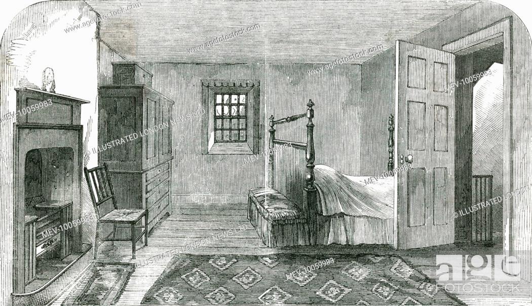 Stock Photo: ROBERT BURNS Room where Scotland's national poet died, in Dumfries.