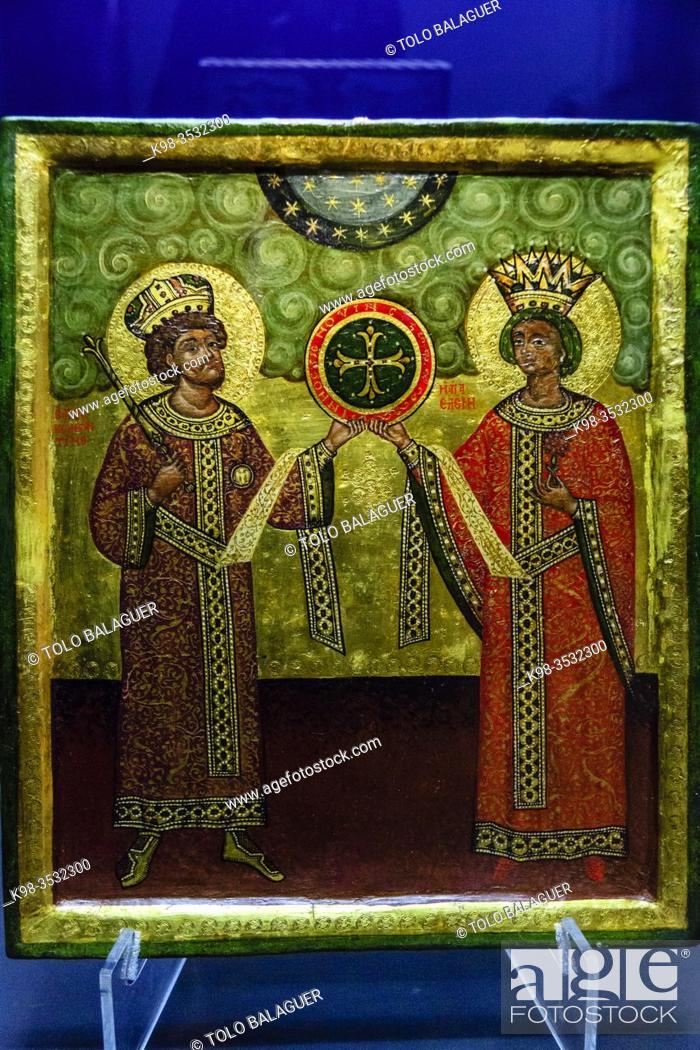 Stock Photo: constantino y helena manifiestan la cruz, tempera sobre madera, siglo X, museo de Evora, Evora, Alentejo, Portugal, europa.