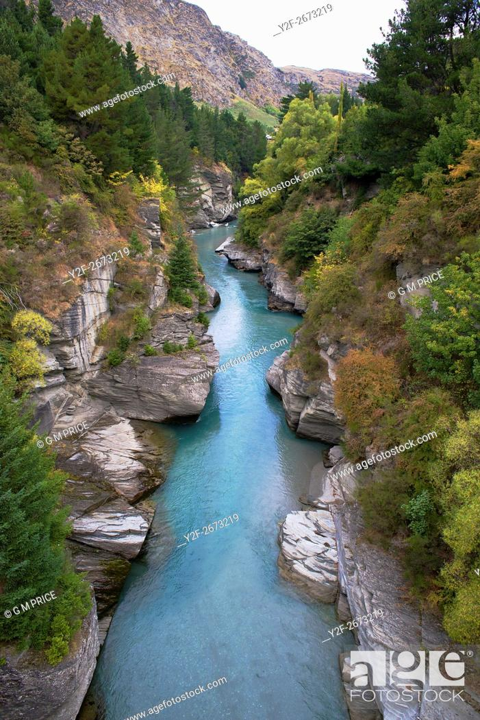 Stock Photo: elevated view of Shotover River, near Queenstown, New Zealand.