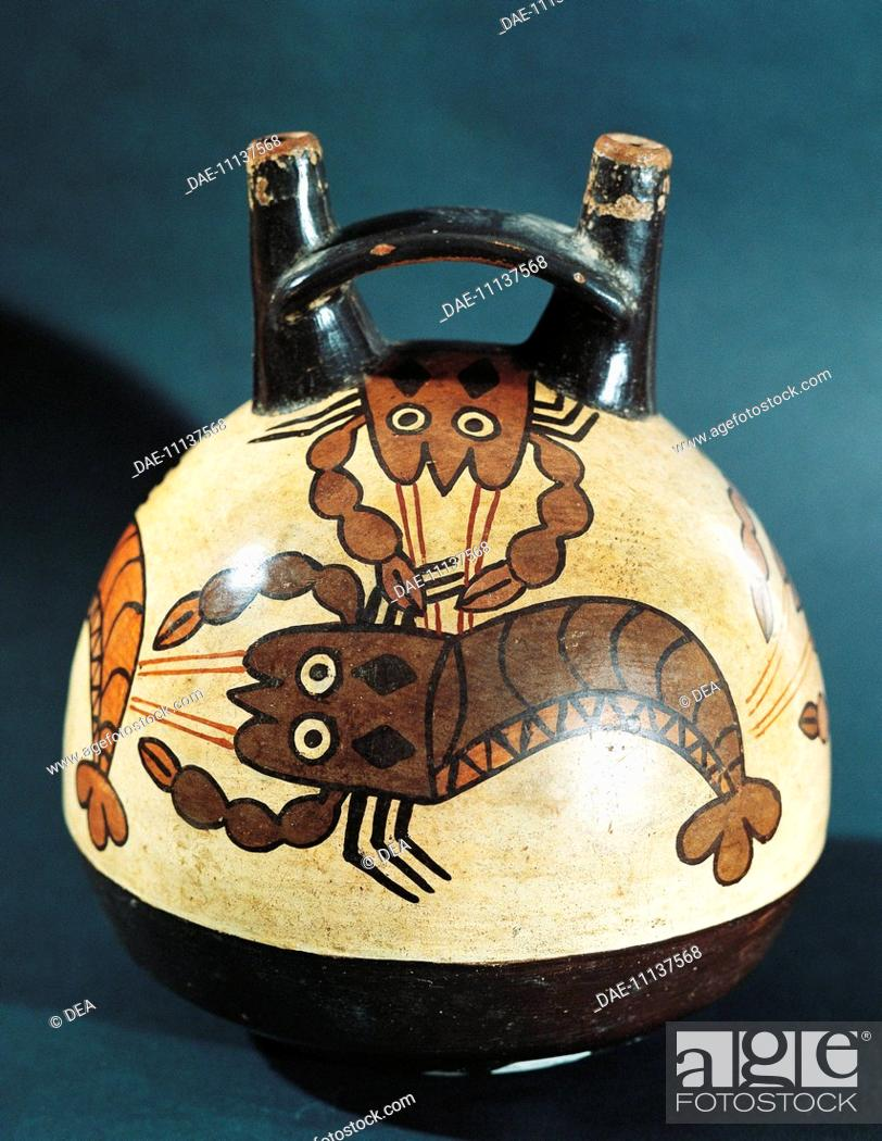 Stock Photo: Pre-Inca civilization, Peru, 2nd-7th century A.D. Nazca culture. Double spout and bridge vessel with painted crayfish figures.