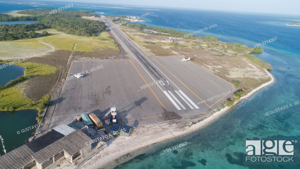 Stock Photo: los roques gran roque airport not airplane.
