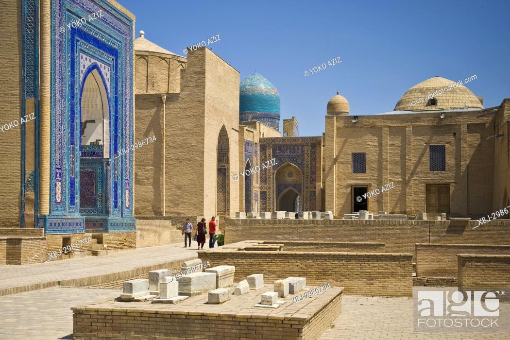 Stock Photo: Uzbekistan, Samarkand, Shoi Zinda mausoleum.