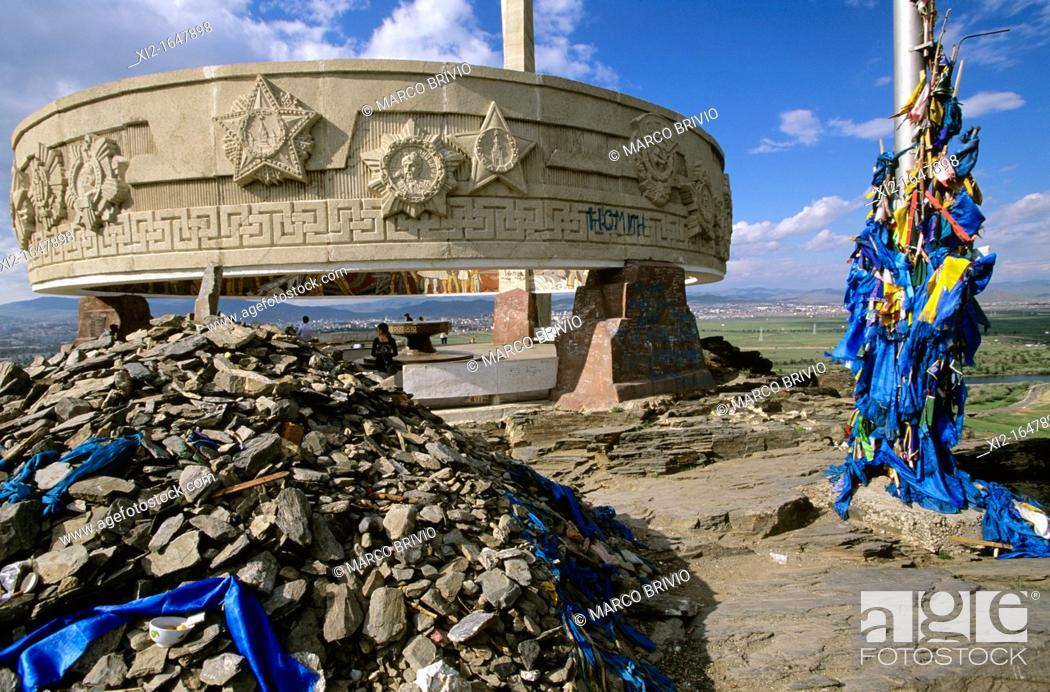 Stock Photo: The Zaisan Memorial is a memorial south of the Mongolian capital of Ulaanbaatar that honors Soviet soldiers killed in World War II  Located on a hill south of.