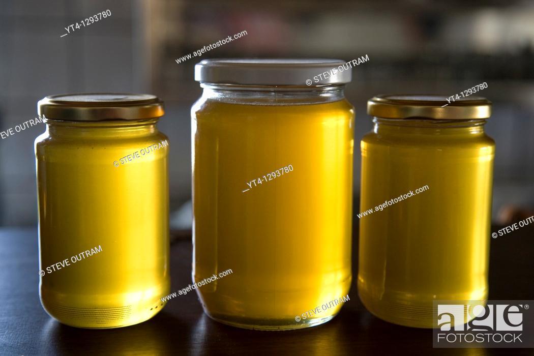 Stock Photo: Jars of delicious Cretan, Mediterranean Honey.