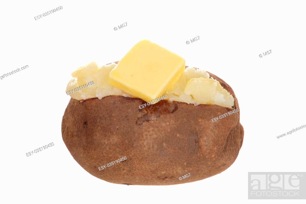 Stock Photo: isolated baked potato with butter on white background.