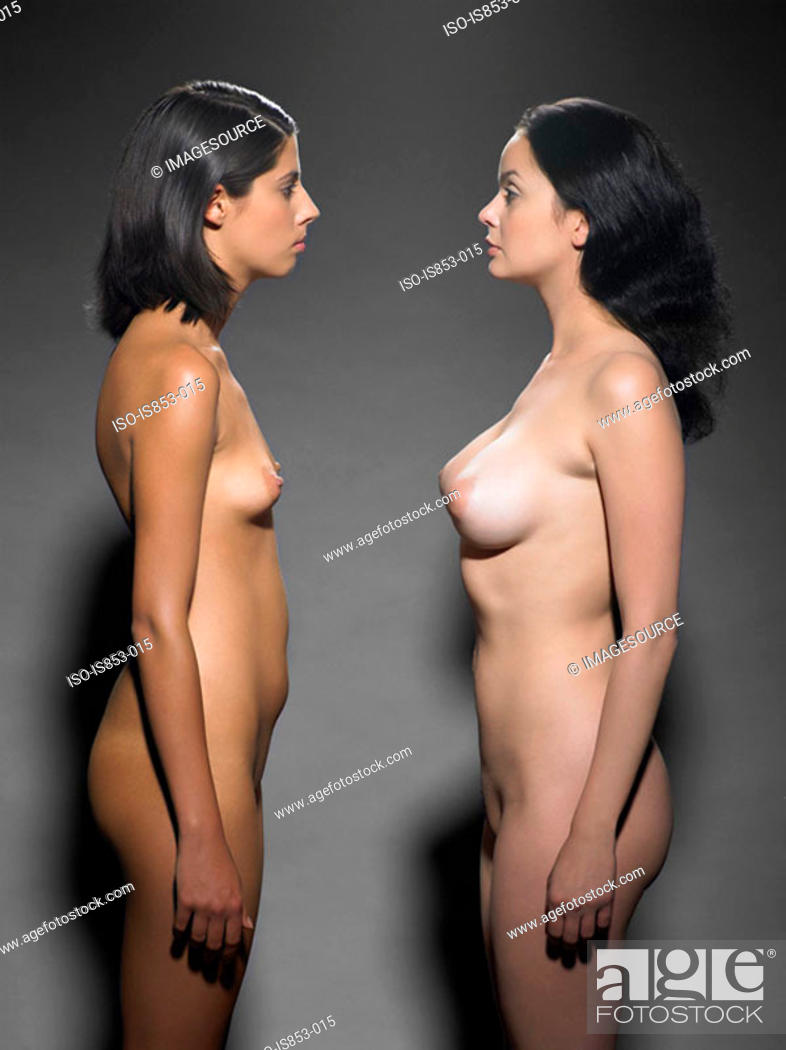 Stock Photo: Two nude women face to face.