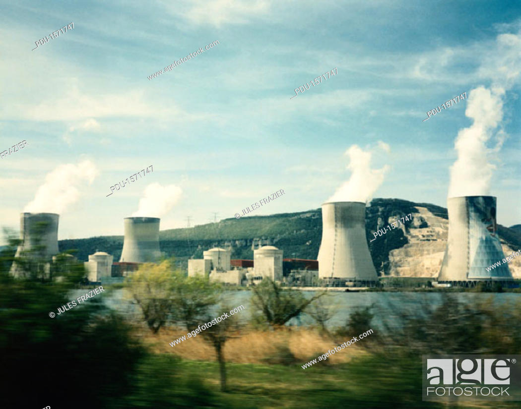Stock Photo: Cooling Towers of a Nuclear Power Plant in France.