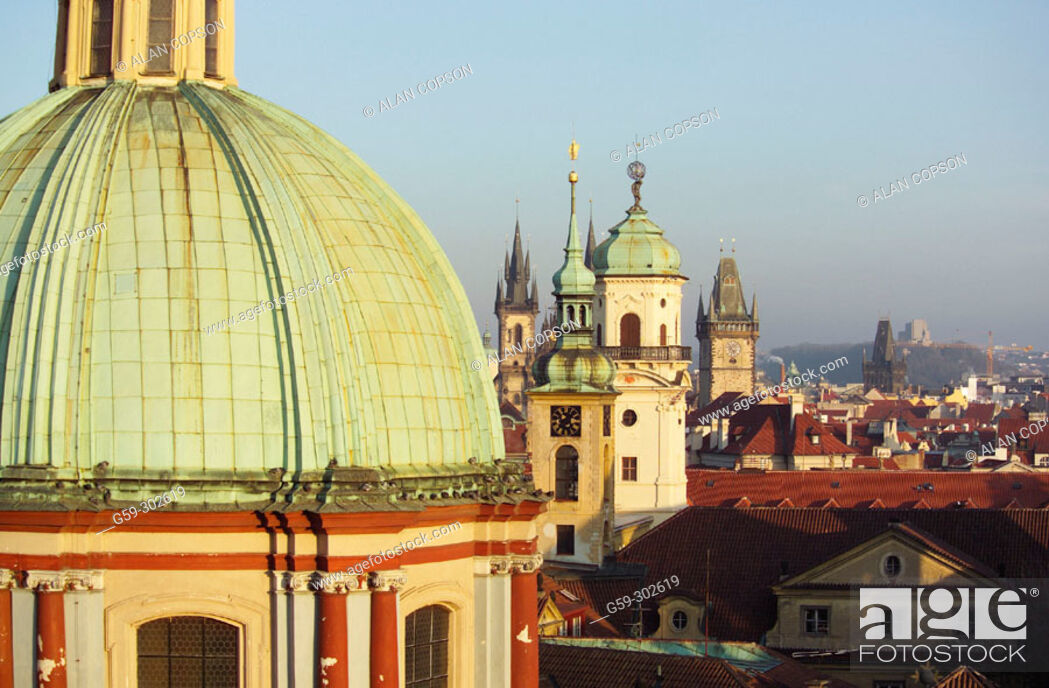 Stock Photo: Old town from Charles Bridge gate tower. Prague. Czech Republic.