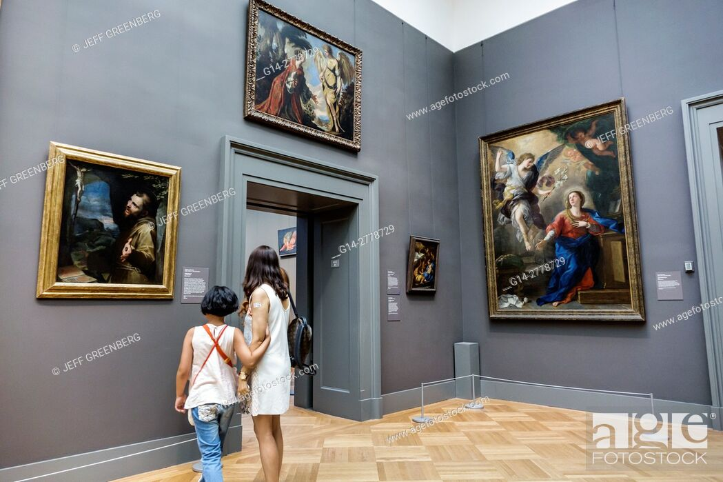Stock Photo: New York, New York City, NYC, Manhattan, Upper East Side, Fifth Avenue, Metropolitan Museum of Art, Met, gallery, painting, Italian Baroque, Annunciation.