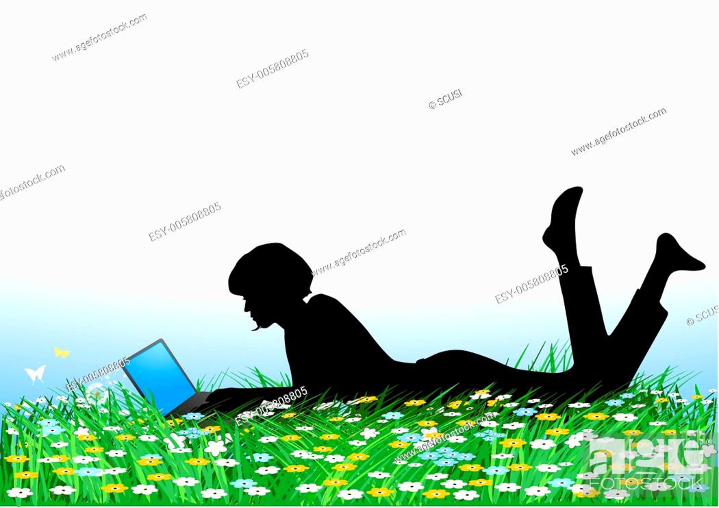 Stock Vector: young women with laptop.