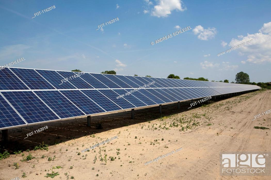 Stock Photo: Row of solar panels.