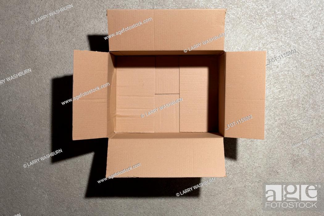 Stock Photo: Open cardboard box.
