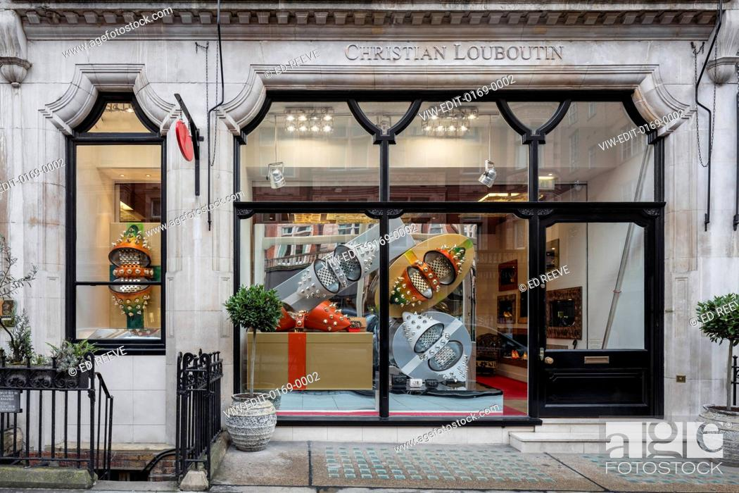 b2a21ab7f1c1 Stock Photo - Christmas Windows 2015 of Christian Louboutin store in Mount  Street.