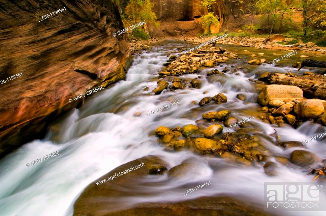 Stock Photo: Cascade water over rocks in the Virgin River Narrows, Zion National Park, Utah.