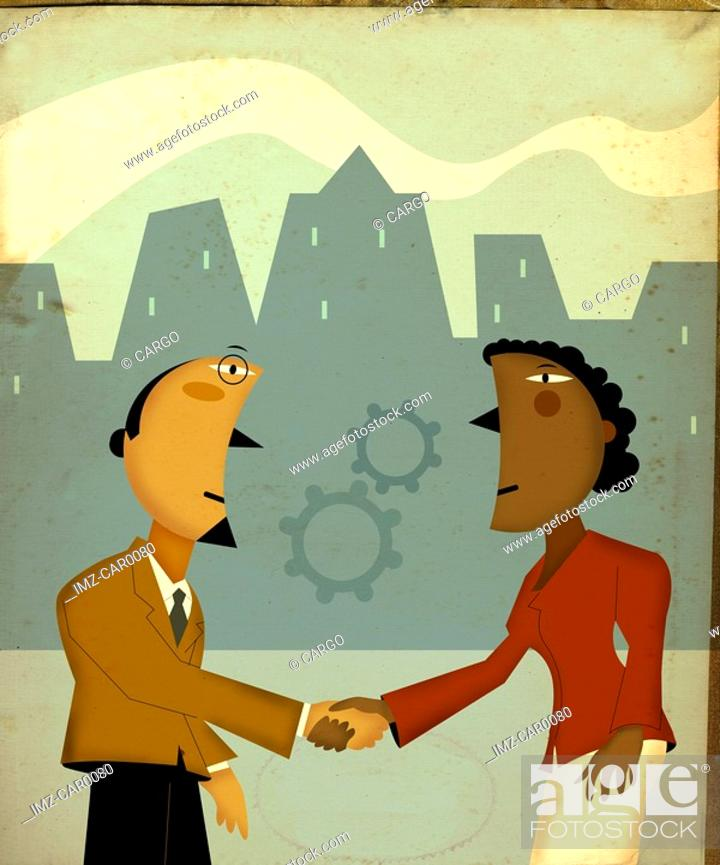 Stock Photo: Business people shaking hands underneath gears.