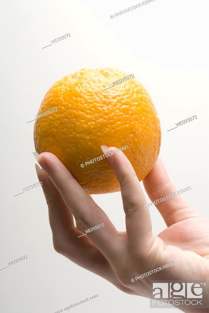 Stock Photo: female hand holding an Orange on white background.