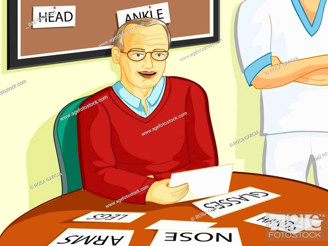 Stock Photo: An elderly man surrounded by notes to remind him of what objects around him are.