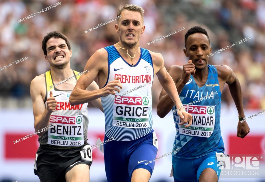 Stock Photo: 08.08.2018, Berlin: Track and Field: European Championships at the Olympic Stadium: 1500m, preliminary round, men: Timo Benitz (l-r) from Germany.