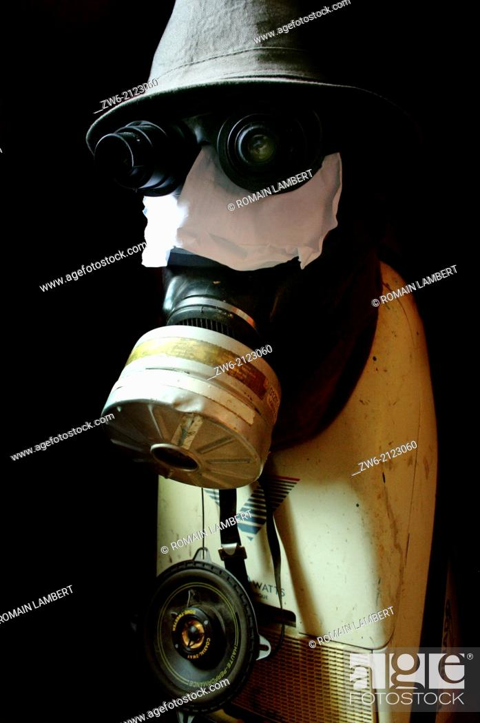 Stock Photo: Dark Steam punk Robot made with a gas mask and a hoover.
